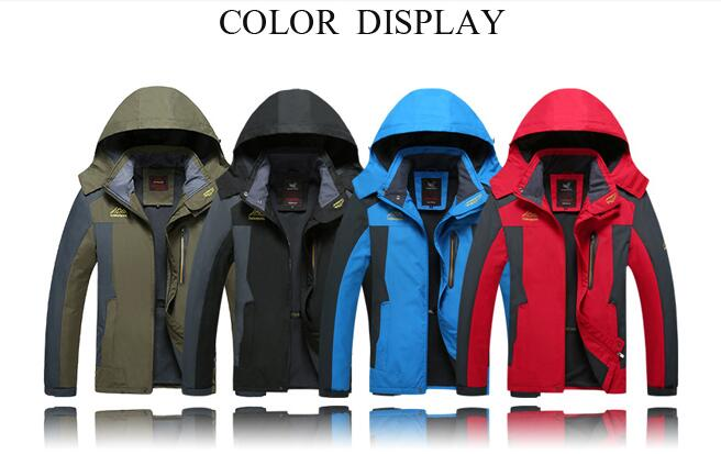 Mens Spring Outdoor Fleece Stand Collar Waterproof Windproof Hooded Detachable Jacket Big Size S-6XL - Red XL