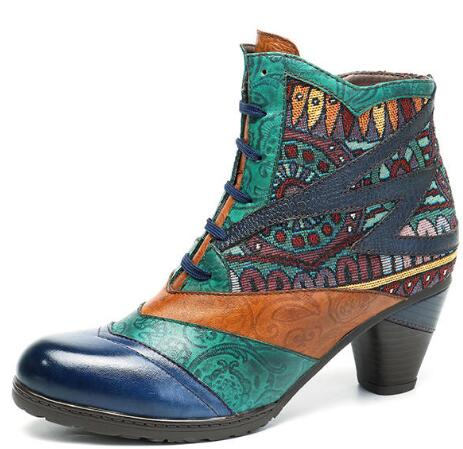 SOCOFY Bohemian Splicing Pattern Block Zipper Ankle Leather Boots Shoe - 9 Dark Blue