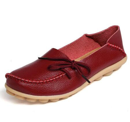 US Size 5-13 Women Soft Comfortable Lace-Up Flat Loafers Breathable Casual Leather Flats Shoes - 8 Wine Red