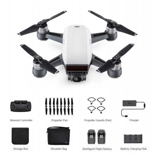 DJI Spark Mini RC Selfie Drone - WHITE BNF WiFi FPV 12MP CAMERA