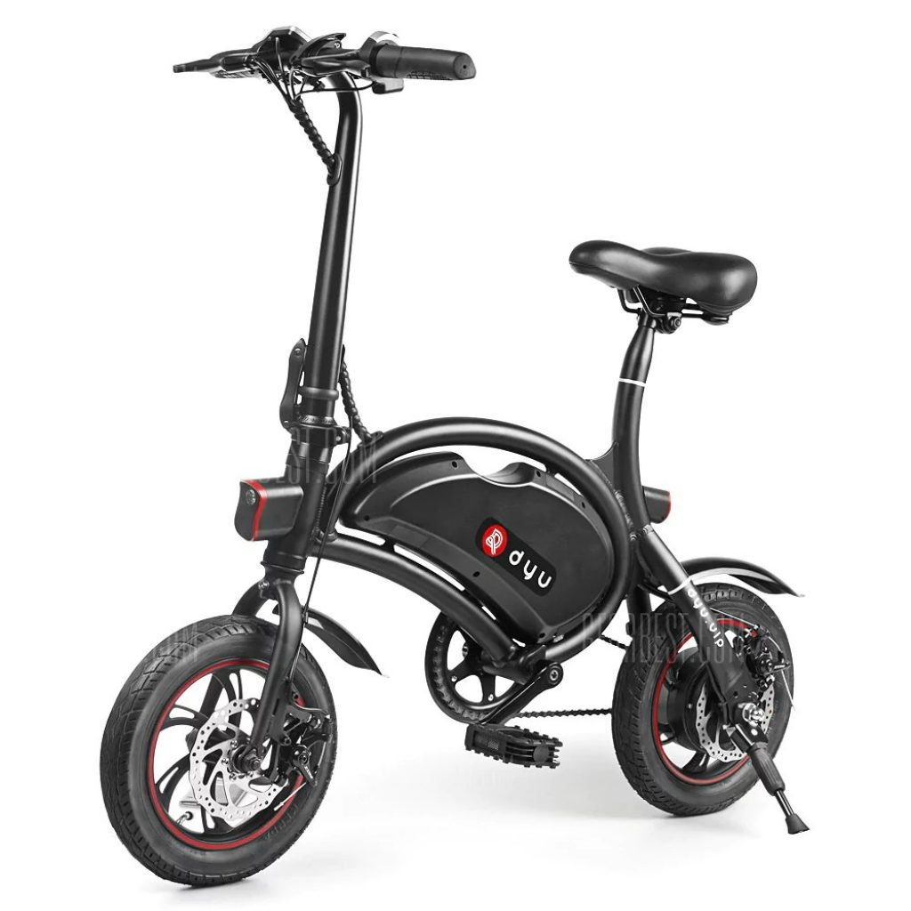 F - wheel DYU D2 Folding Electric Bike 5.2Ah Battery EU Plug - BLACK
