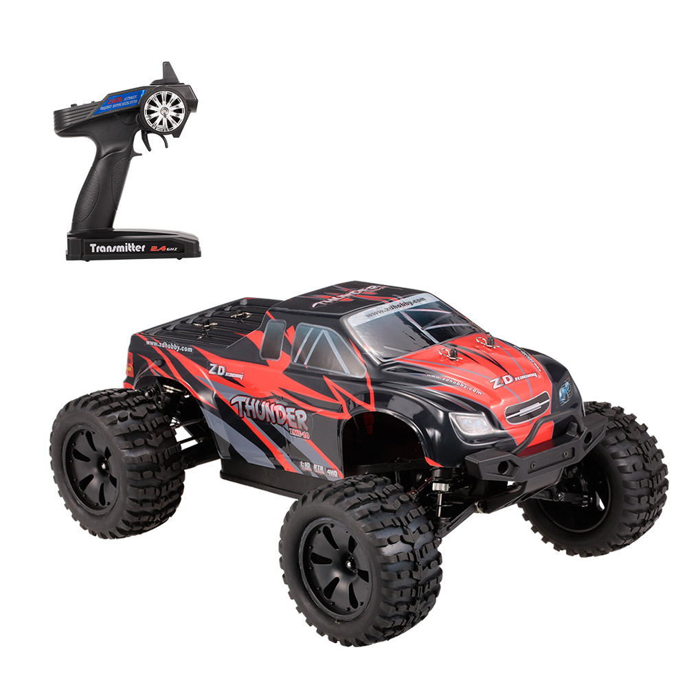 ZD Racing 10427 - S 1:10 Big Foot RC Truck - RTR - BLACK AND RED BRUSHLESS VERSION
